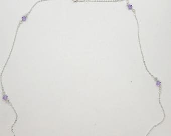 "28"" dainty purple crystal necklace"