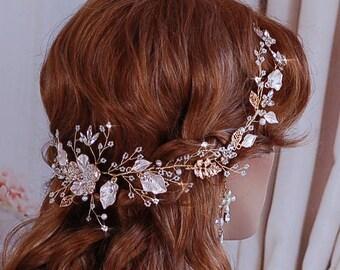 Rose Blush Champagne Gold Bridal Vine Headpiece Hair Wreath Hairpiece Head Piece Accessory Weddings Brides Wedding Party Bride Gift Weddings