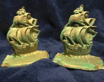 Vintage Bronze Spanish Galleon Bookends