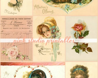 Beautiful Ladies,  Printable Valentine Collage Sheet (digital download, printable)