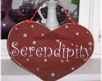 Serendipity Red Heart With White Polka Dots Shabby Cottage Wood Sign Custom