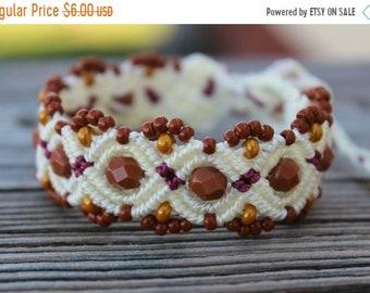 SALE REDUCED Micro-Macrame Beaded Bracelet - Cream, Wine, Brown