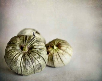Tomatillos, Food Photography, Rustic, Kitchen Wall Art, Green, Beige, Rustic Kitchen Decor