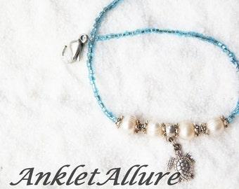 Anklet Turtle Anklet Beach Anklet Pearl Ankle Bracelet Cruise Anklet Blue Anklet