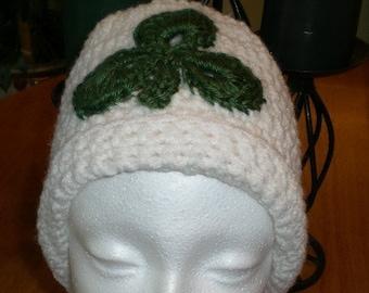St Patricks Day, Hat, Beanie, Crochet, White, Green, Holidays, Men, Women, Unisex