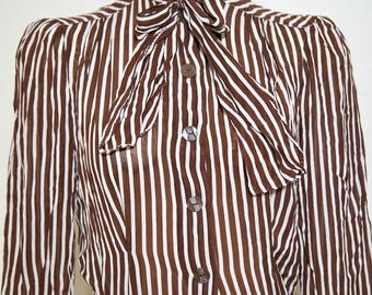 1940s chocolate brown and white striped blouse / secretary top / bow