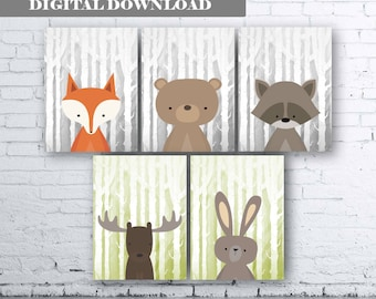 WOODLAND Animals Wall Art Print-Set of Six (5) - Digital Download. Woodland Creatures Wall Art Printable. Forest. Woodland Nursery Art.Print