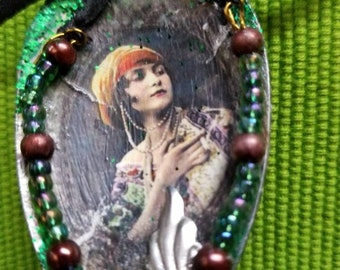 Lovely Gypsy Girl Altered Spoon Wall Hanging/Ornament