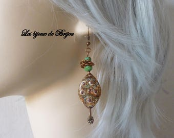 Elegant dangle earrings rustic enamelware Anissa Picasso er copper beads Czech beads