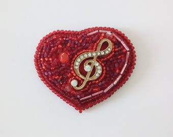 Beaded brooch red Heart Music jewelry with treble clef good gift idea musican music teacher, for lavers music or beginner singer