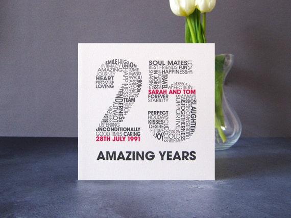 Silver wedding anniversary card personalised wedding