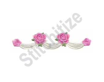 Rose Swag - Machine Embroidery Design, Roses, Flowers, Swag