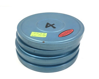 """Vintage Metal Film Reel Tins by Kmart, 6"""" Movie Reel Canister Set, Have Others Available"""
