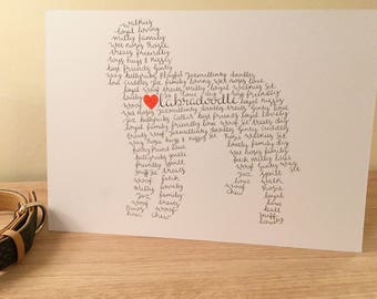 A4 Labradoodle wall art, labradoodle gift, labradoodle owner gift, labradoodle personalised wall art, labradoodle, labradoodle mum gift