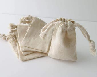Tiny Cotton Muslin Bags Pouches (2 in x 3.5 in) Gift Bags | Unbleached Muslin Favor Bags, Cotton pouches