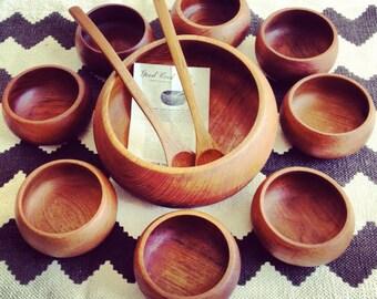 "Vintage ""Goodwood"" Genuine Thailand Teak Bowl Set"