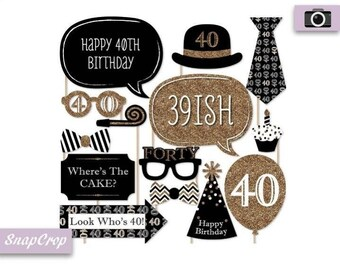40th Birthday Party Photo Booth Props