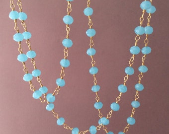 Long or Short Blue Chalcedony Stone Gold Beaded Necklace