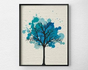 Tree Wall Art, Modern Home Decor, Fine Art Print, Modern Art Print, Nature Art Print, Tree Artwork, Office Decor, Blue Art, 0298