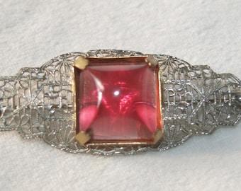 Art Deco Cranberry Sugar Loaf Brooch
