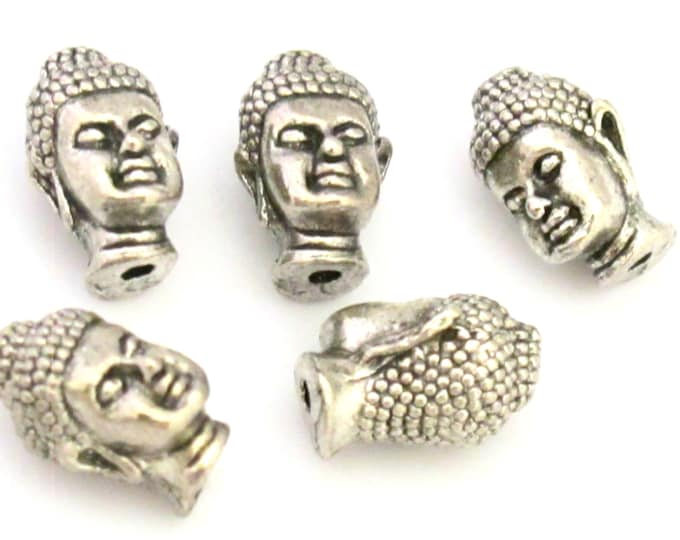 2 BEADS - Antiqued silver color Tibetan Buddha beads - BD708