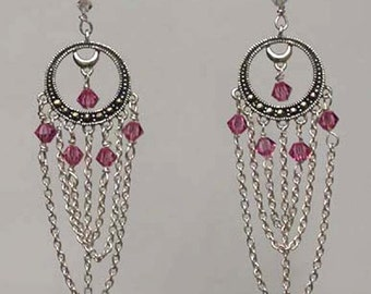 Handcrafted Swarovski Crystals and Sterling Silver Earrings - Carmen