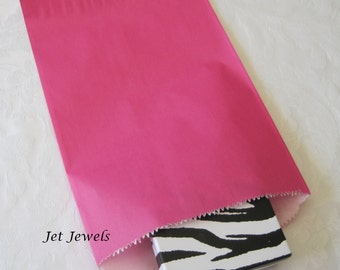 50 Paper Bags, Gift Bags, Kraft Paper Bags, Candy Bags, Party Favor Bags, Pink Paper Bags, Hot Pink, Retail Bags, Merchandise Bags 6x9