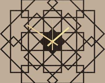 Wall Clock - Wood Wall Clock Square, Big Clock, Square Wooden Clock, Simple Modern Wall Clock, Silent Clock, Large Dark Oak Wall Clocks