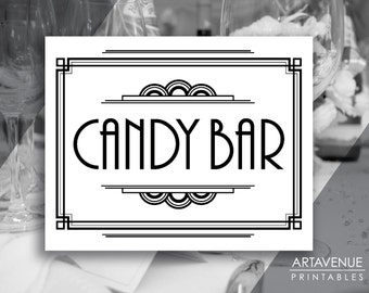 """Gatsby Party Printable Art Deco Sign - """"CANDY BAR"""" Printable Party Sign - Black and White - ADWB1"""