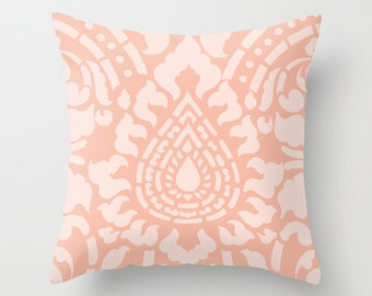 Peach Damask Throw Pillow - Pastel Home Decor -