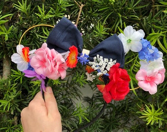 Alice in Wonderland Floral Bow Mickey Mouse Ears!