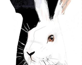 White Rabbit Dress Art Print Drawing Alice In Wonderland Tunic
