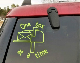 """Mail carrier vinyl car decal sticker  """"one box at a time"""""""