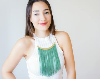 Necklace Green Fringe Necklace Tassel Necklace Statement Necklace Ornaments/ CHEORA