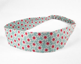 """Fabric Headband - Aqua Daisy - Pick your size - fit toddlers to adults - 1-1/2"""" wide"""