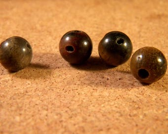 Pearl connector Tiger eye natural 10 mm 3 holes - Buddhist MALA - ethnic-MALA9