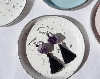 Purple Amethyst Crystal Gemstone Tassel Drop Earrings