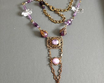 Shades of amethyst, Lepidolite and clear crystal antiqued brass adjustable necklace, amethyst cabochons