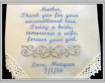 PERSONALIZED Embroidered Mother of the Bride Handkerchief w/ Fleur De Lis  & Swirl Design