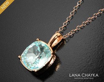 Ice Blue Rose Gold Crystal Necklace, Swarovski Light Azore Square Necklace, Pale Ice Blue Wedding Necklace Bridal Blue Bridesmaids Necklace