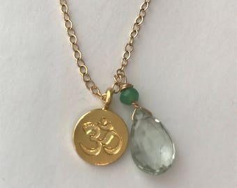 Green Amethyst  Necklace Quartz Necklace Om Necklace August Birthstone, February Necklace , layering Necklace, Om Necklace, Yoga Necklace