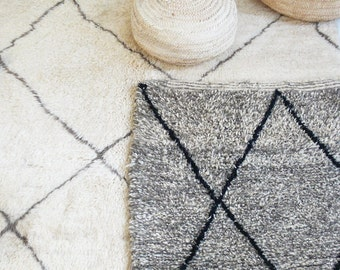 BENIOUARAIN gris - alfombra Vintage lana marroquí