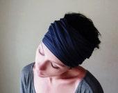 MIDNIGHT BLUE Hair Wrap, Dark Blue Head Scarf, Boho Hair Accessories, Yoga Headband, Bohemian Head Scarf, Alopecia Wrap
