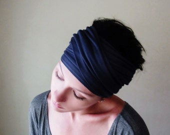 MIDNIGHT BLUE Hair Wrap, Dark Blue Head Scarf, Boho Hair Accessories, Yoga Headband, Bohemian Head Scarf, Alopecia Wrap