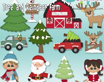 Winter village tree and reindeer farm Christmas Digital Clipart - scrapbooking, party invitations - Instant Download Clipart Commercial Use