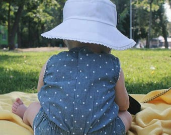White summer hat beach bucket cotton hat for women kids toddler panama sun hat bonnet helmet a cap