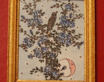 Dollhouse Framed Stamp; Blackbird Singing in Tree