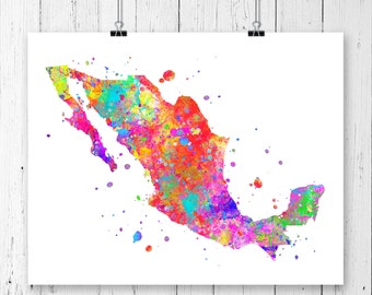 Mexico Watercolor Map 2 Art Print, Poster, Wall Art, Contemporary Art, Modern Wall Decor, Office Decor