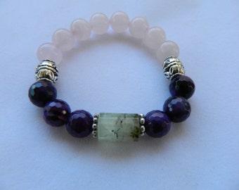 Rose Quartz, Amethyst, & Prehnite Bracelet