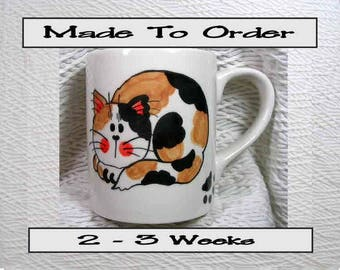 Calico Cat Mug Made To Order Original Handmade With Paws On Back by GMS